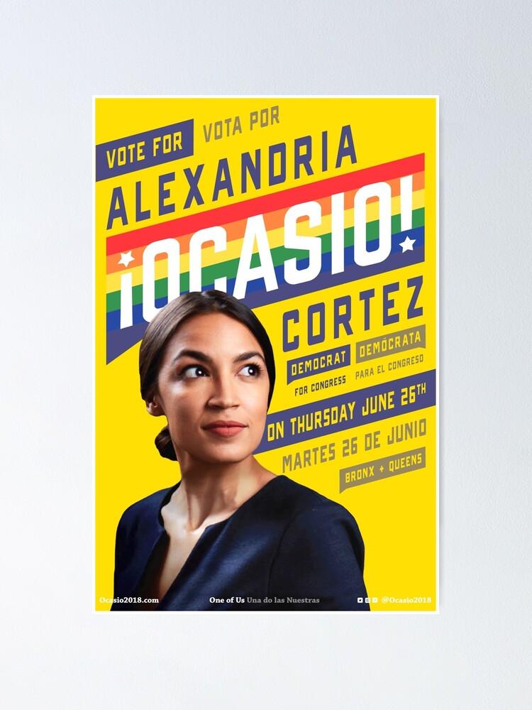 Alternate view of Alexandria Ocasio-Cortez Congressional Campaign Poster (Pride version) Poster