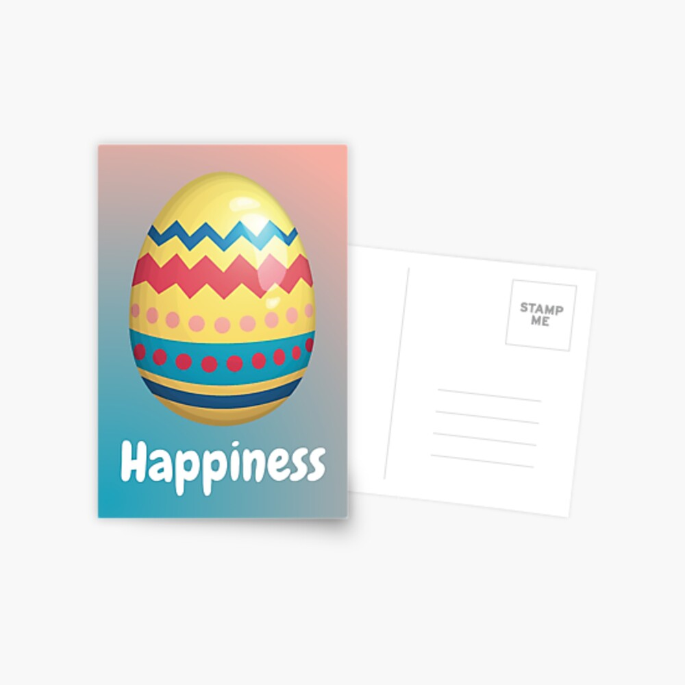 Easter Egg of Happiness | Striped Yellow Blue ZigZag Red Spots Postcard