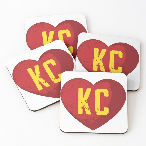 I love Kansas City Heart Vintage KC Football Coasters (Set of 4)