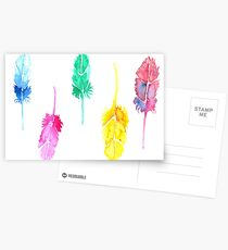 Rainbow Watercolor Feathers Postcards