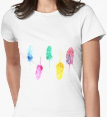 Rainbow Watercolor Feathers Women's Fitted T-Shirt