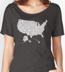 USA States White Women's Relaxed Fit T-Shirt