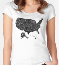 USA States Black Women's Fitted Scoop T-Shirt