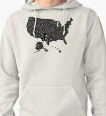 USA States Black Pullover Hoodie