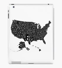 USA States Black iPad Case/Skin