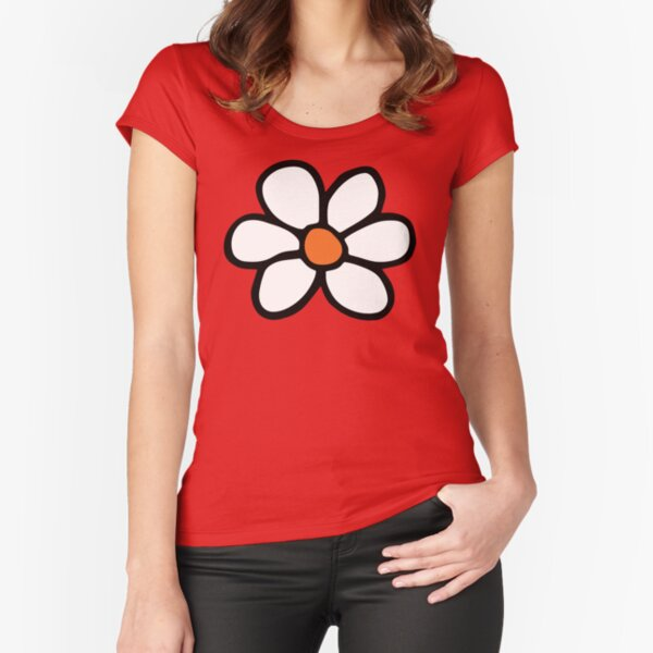 Hippie flower cartoon Fitted Scoop T-Shirt