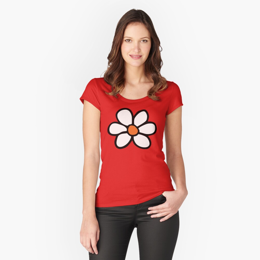 Hippie flower cartoon Fitted Scoop T-Shirt