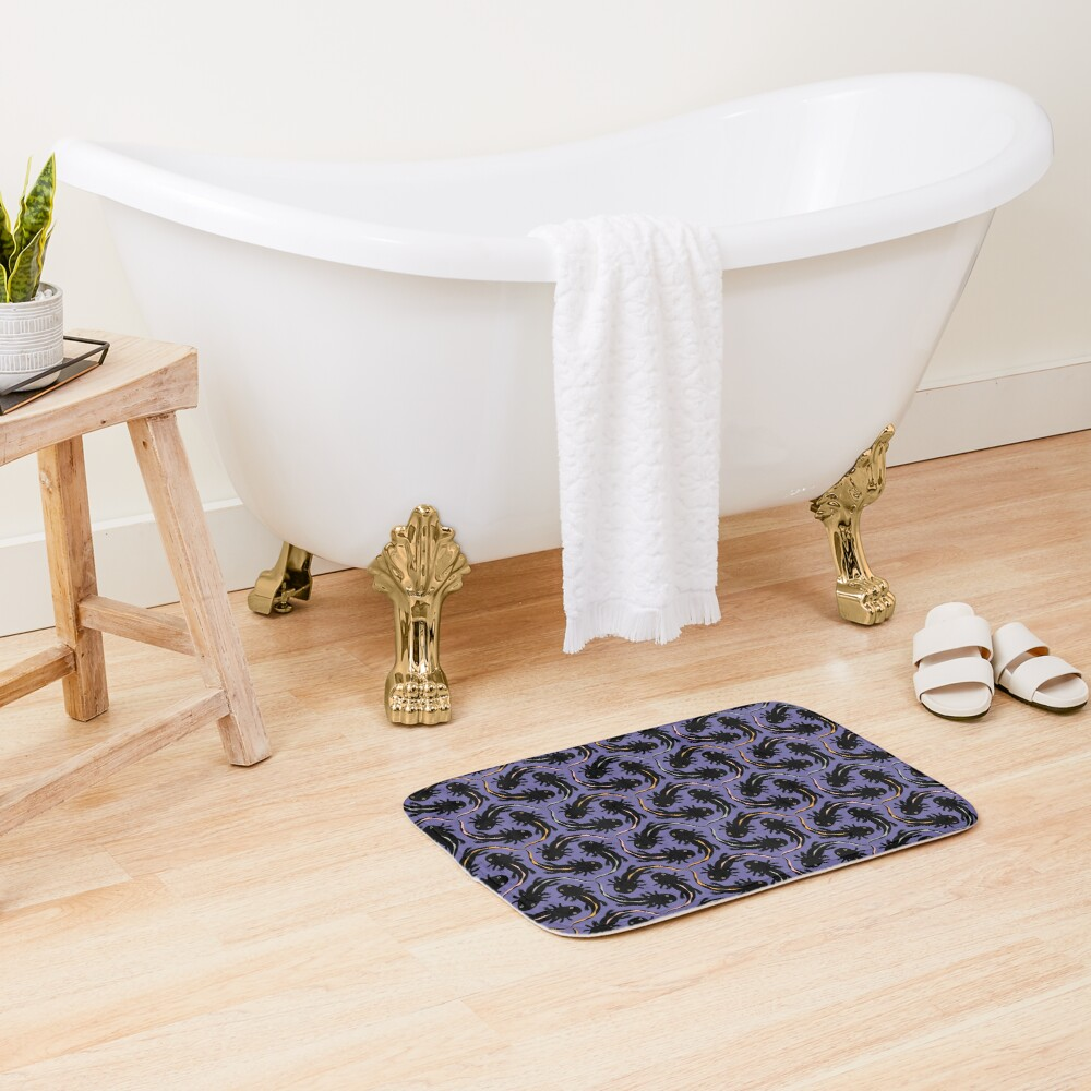 WE LOVE M.C. ESCHER style - Axolotl symmetrical pattern Bath Mat