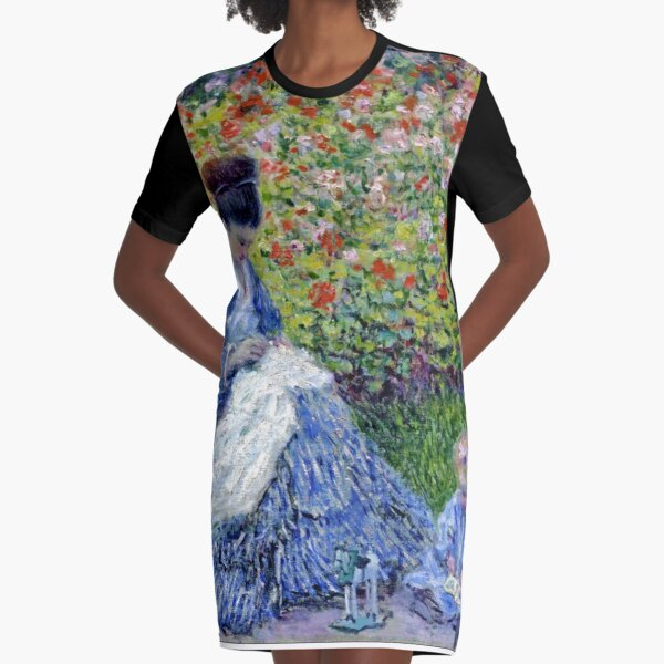 MONET. Camille Monet and a Child in the Artist's Garden in Argenteuil. 1875. Graphic T-Shirt Dress