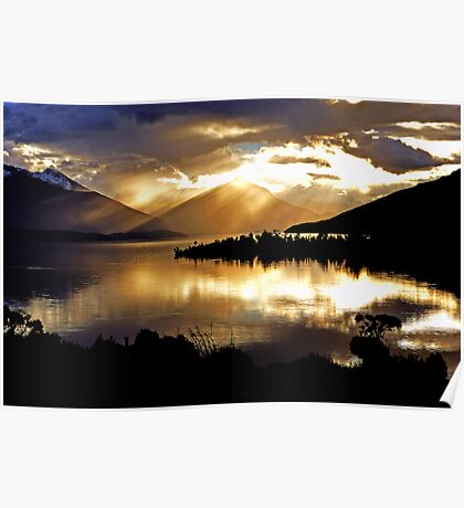 Lake Te Anau sunset. South Island, New Zealand. Poster
