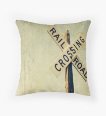 Railroad Crossing Sign with Vintage Distressing Throw Pillow