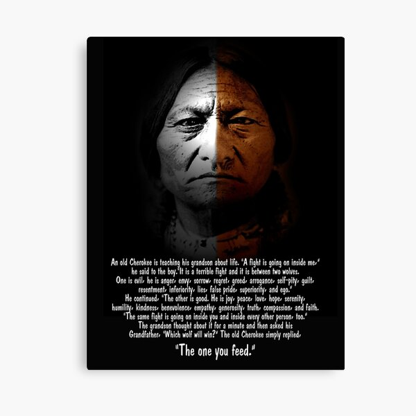 """Sitting Bull with """"Two Wolves"""" text Canvas Print"""