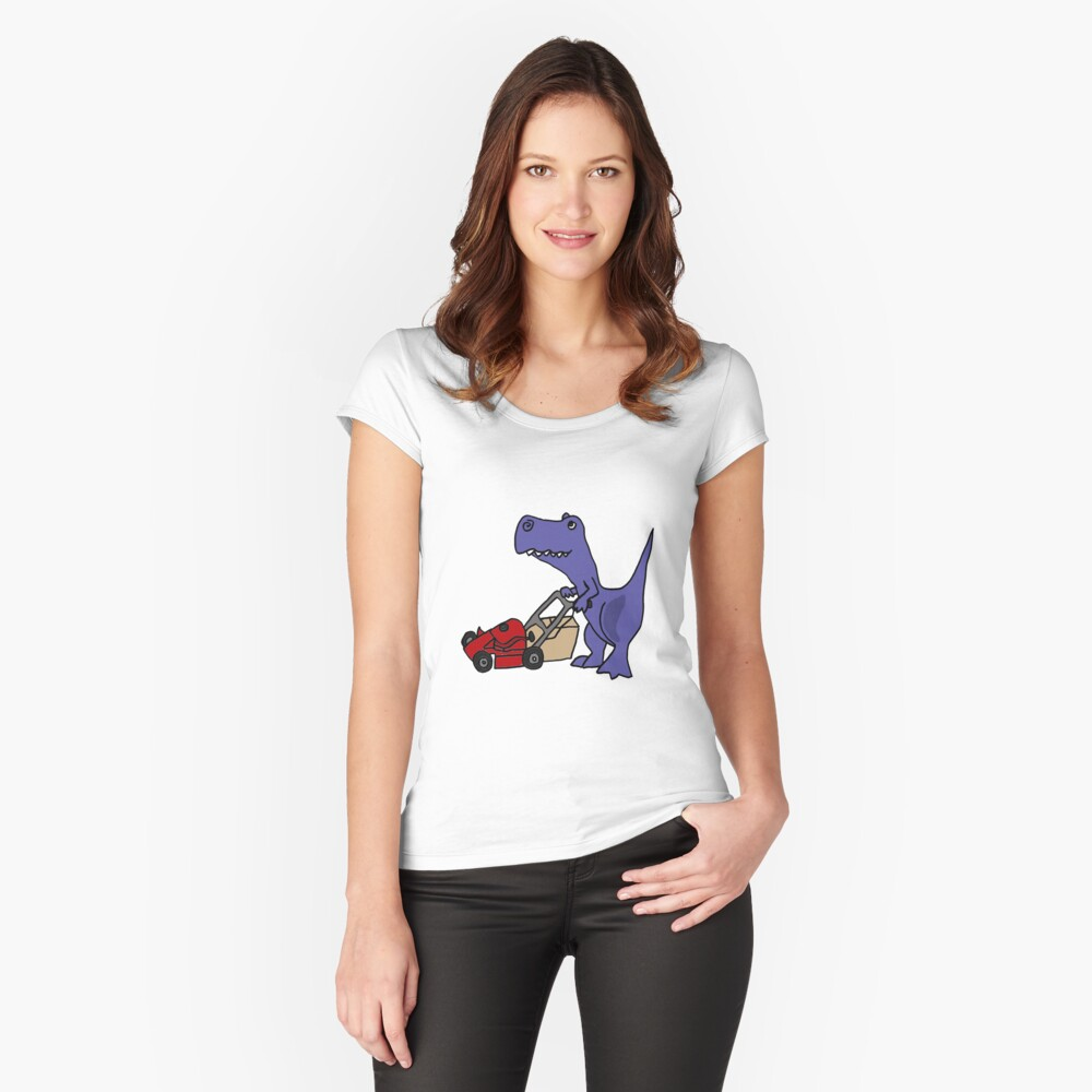Funny T-Rex Dinosaur Mowing the Lawn Women's Fitted Scoop T-Shirt Front