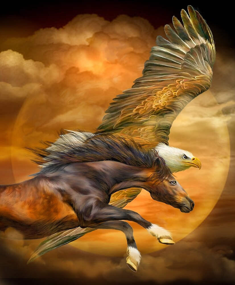 Eagle And Horse - Spirits Of The Wind by Carol  Cavalaris