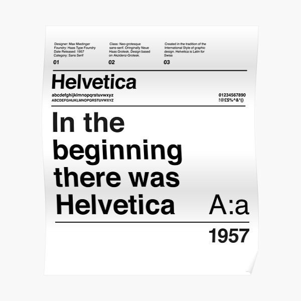 Helvetica Typography Font Design: In The Beginning There Was Helvetica Poster