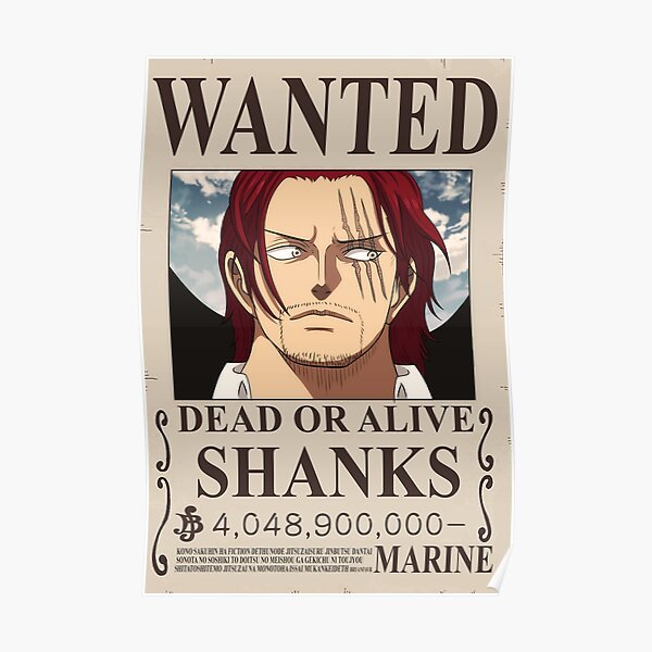 """One piece Wanted - Shanks """"Red Haired"""" Poster"""