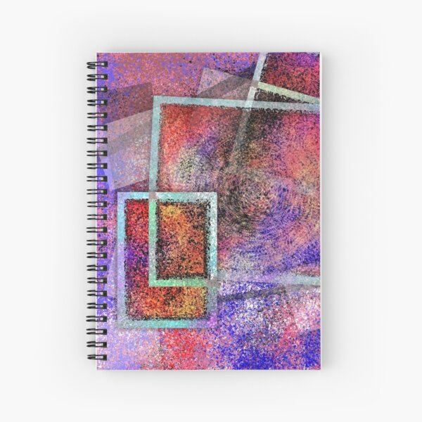 112020 - Abstract Digital Painting Wall Art Colorful Geometric Art Spiral Notebook