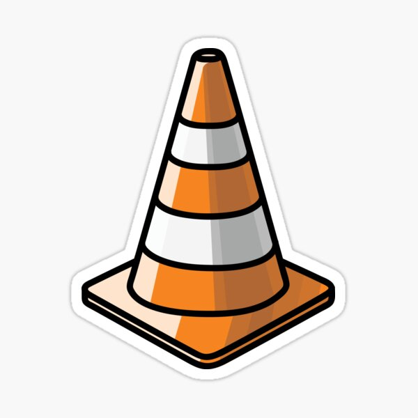 Verkehrskegel - Orange und Weiß Sticker