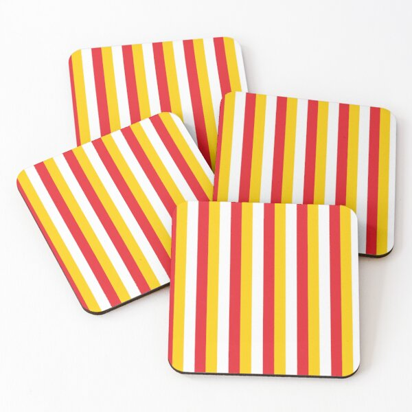 Red Yellow White Sports Football Texture Coasters (Set of 4)