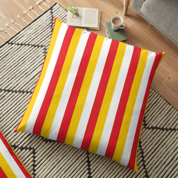 Red Yellow White Sports Football Texture Floor Pillow