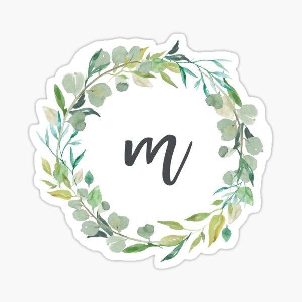 Autocollant de monogramme de couronne de feuilles M Sticker
