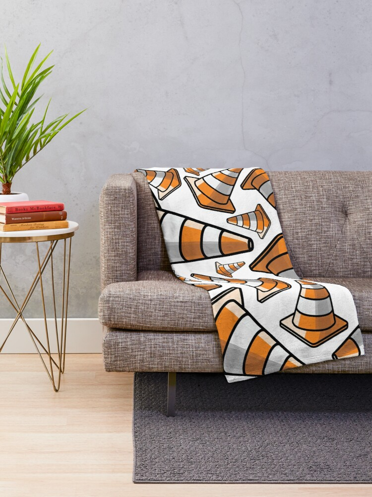 Alternate view of Traffic Cone - Orange and White Throw Blanket