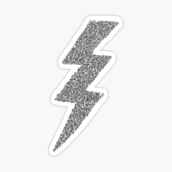 Silver Glitter Lightning  Sticker