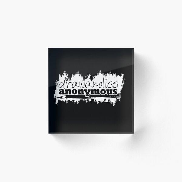 Drawaholics Logo White Acrylic Block