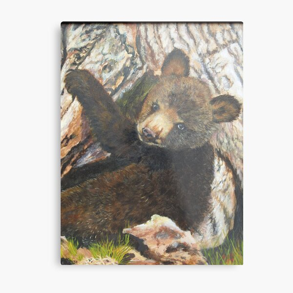Bear Cub-Where's my mama? Metal Print