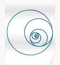 Two Golden Ratio Spirals Poster