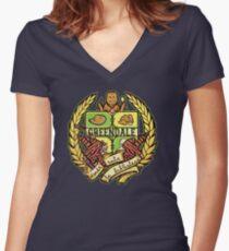 Donde Esta La Biblioteca Women's Fitted V-Neck T-Shirt