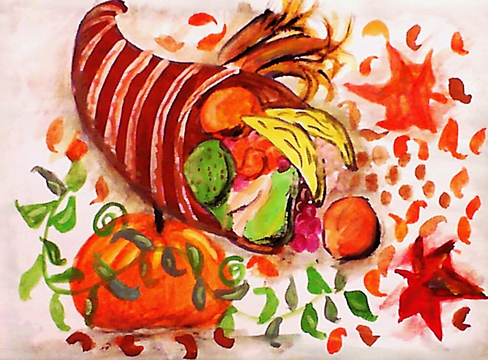 Horn of plenty, enjoy the holidays, watercolor by Anna  Lewis, blind artist