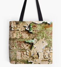 Textures - Green and white peeling paint Tote Bag