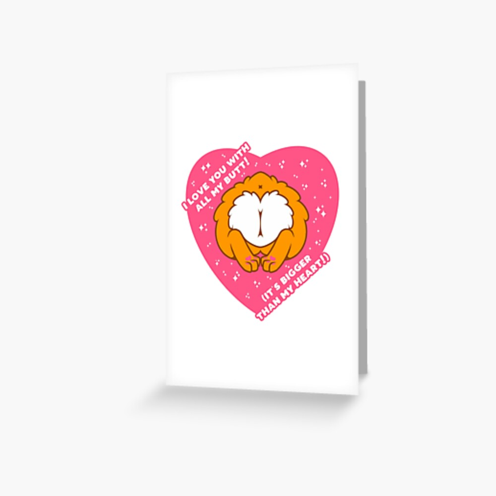 I Love You with all of My (Corgi) Butt! - Orange Greeting Card