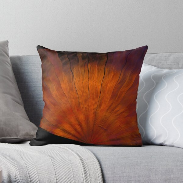 Copper Silk Fan Throw Pillow