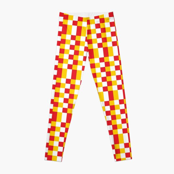 White Yellow Red Football Fans Sports Texture Leggings