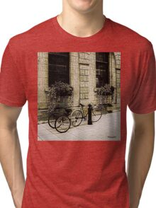 Tandem Bicycle and Flowers Tri-blend T-Shirt