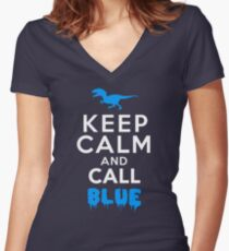 Keep Calm and Call Blue | Raptor Women's Fitted V-Neck T-Shirt