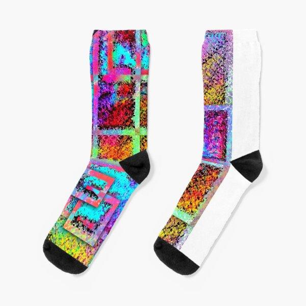 Moon Phase - Abstract Digital Painting Wall Art Colorful Geometric Art Socks
