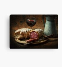 Still life with salami and sourdough Canvas Print