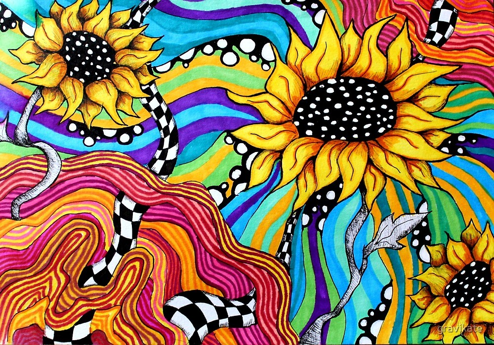 Trippy Sunflowers by gravikate