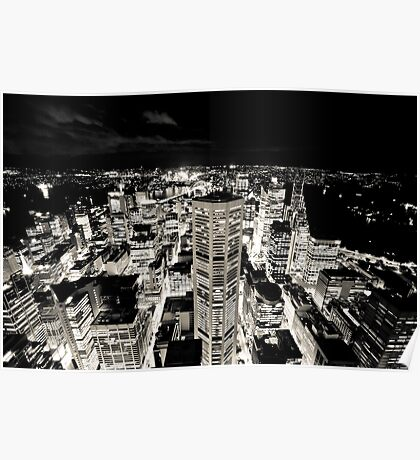 Sydney Lights (Black and White) Poster