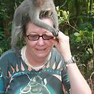 Cathie & monkey in Ubud, Bali by Cathie Brooker