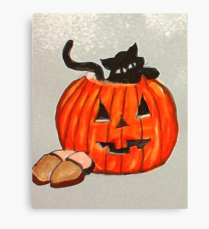 Kitty poking out of pumpkin, watercolor Canvas Print