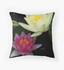 Colors of the Water Garden....   Pink and Yellow waterlily Throw Pillow