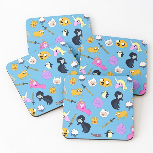 Adventure Time pattern Coasters (Set of 4)