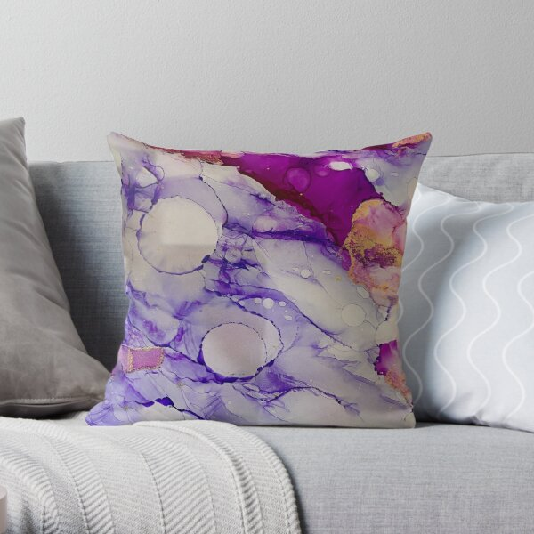 Inking in Purple Throw Pillow