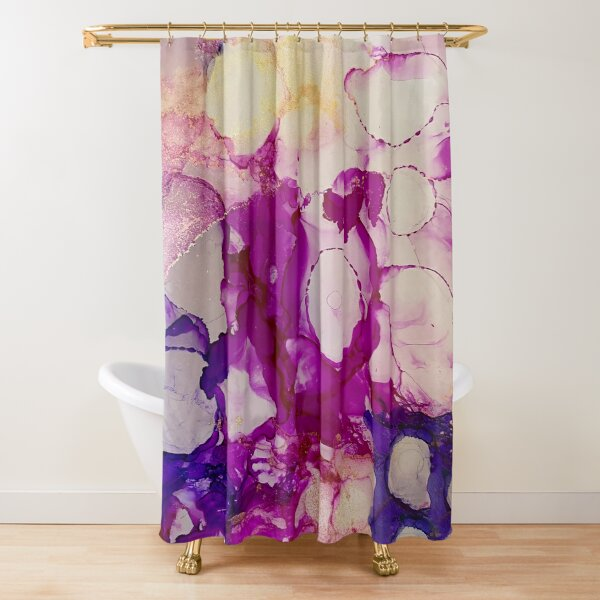 Inking in Purple Shower Curtain
