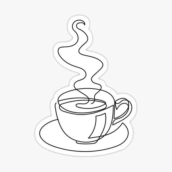 Continuous line art of hot drink Sticker