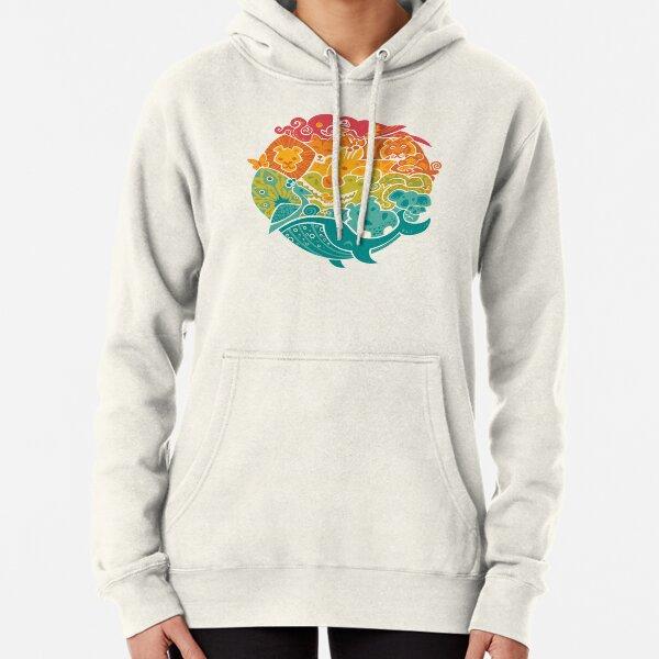 Animal Rainbow Pullover Hoodie